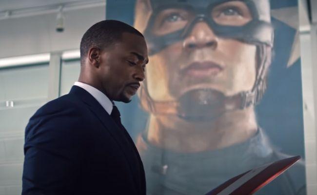 The Falcon holding Captain America's Shield