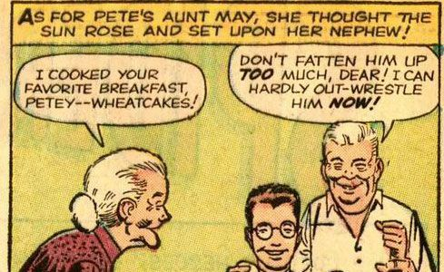 Peter Parker eating wheatcakes