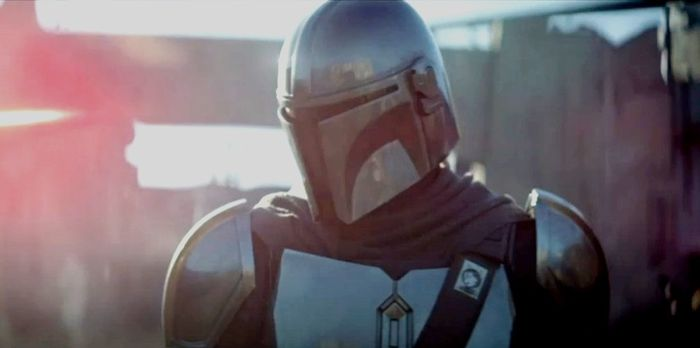 The Mandalorian Mando fighting with soldiers.