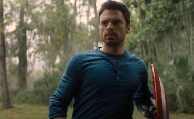Bucky carrying Captain America's Shield