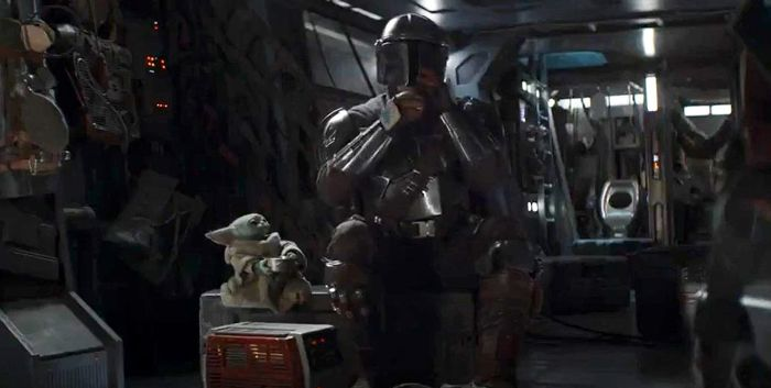 The Mandalorian Mando and Baby Yoda together.