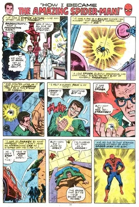 Comic panel showing how Spider-Man got his powers