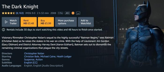 The Dark Knight Amazon Prime