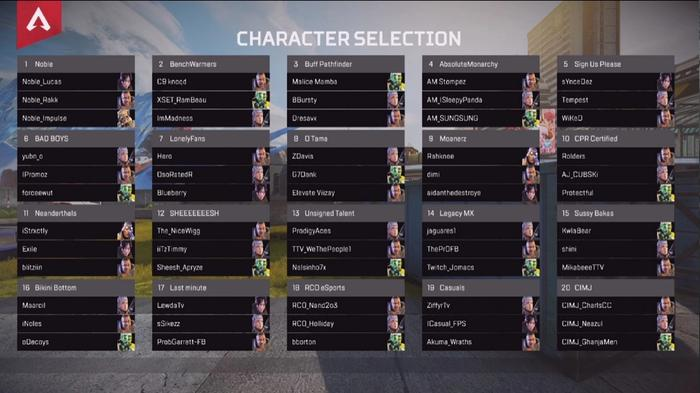 The picks of every team in the Apex Legends Global Series NA Qualifier 3, showing the characters that every player chose.