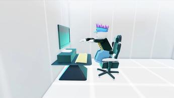 Screenshot from YouTube Simulator X, showing a Roblox sprite working at a computer