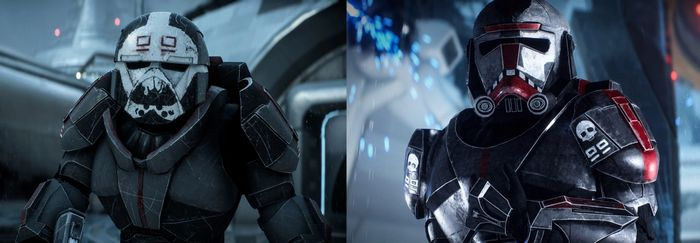 The two Bad Batch character models in Star Wars Battlefront 2. Hunter and Wrecker are side by side