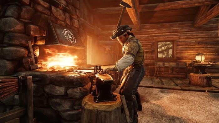 Weaponsmith working over an indoor forge.