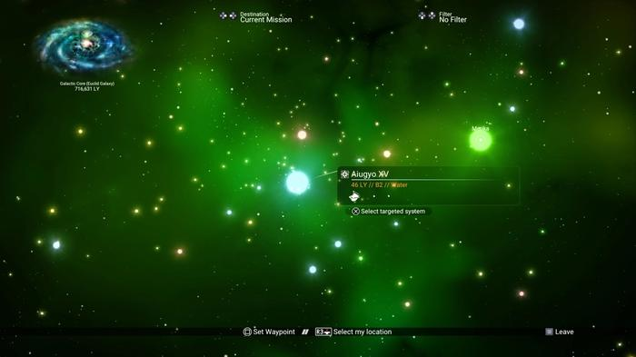 Selecting a blue star system in the Galaxy Map of No Man's Sky