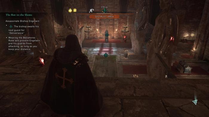 Disguised Eivor prepares to kill Bishop Engelwin in Assassins Creed Valhalla Siege of Paris