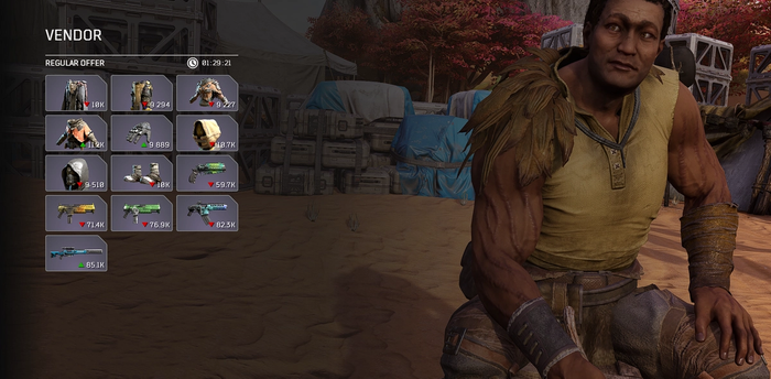 """Player is in an items shop with a vender named """"Tiago"""". Tiago is sitting and looking at the player as they browse his wares."""