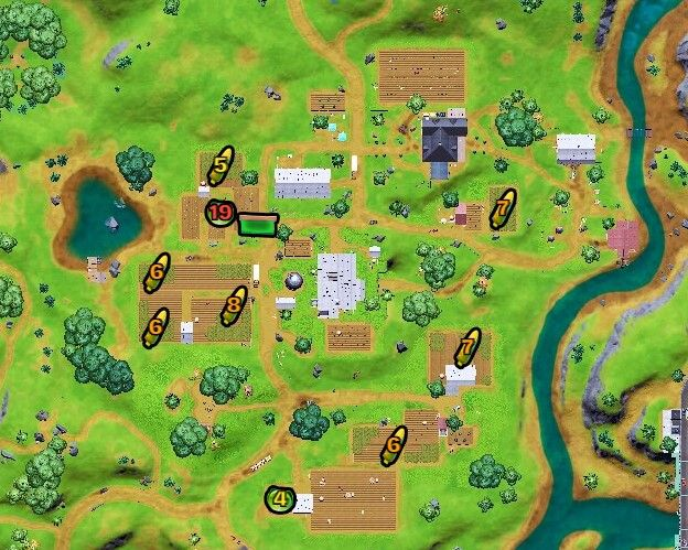 Map showing all the foraged item locations at Corny Complex.