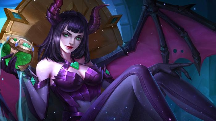 A demon character from Mobile Legends lounges on a throne, clutching an orb filled with green liquid in one hand