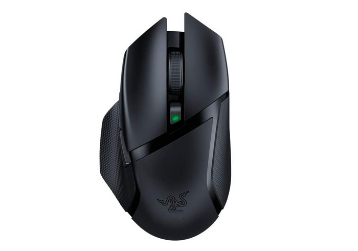 best wireless mouse, image of a black gaming mouse with diagonal stripe