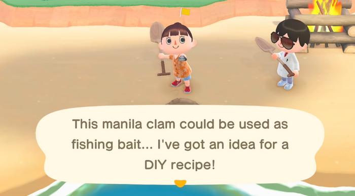 animal crossing new horizons clam diy recipe