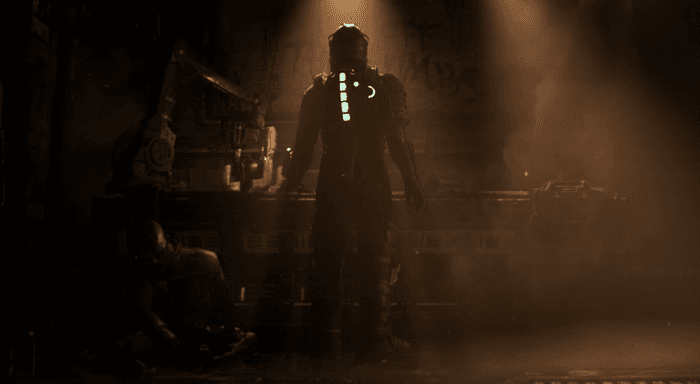 Image from the Dead Space remake reveal showing Isaac Clarke in a dark room with his back to the camera.