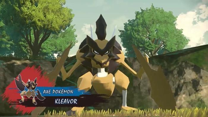 The rocky bug Pokémon Kleavor stalks towards the camera.