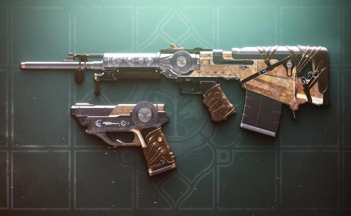 Image of weapons from Destiny 2, showing the side profile of Forge's Pledge and Peacebond.