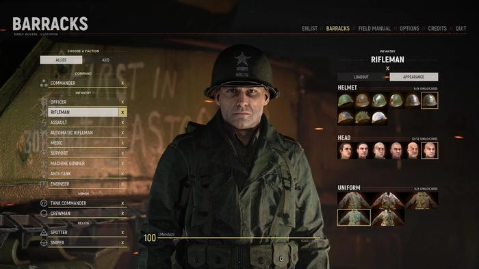 Screenshot from Hell Let Loose showcasing character customisation options.