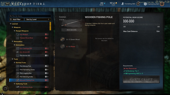 New World Workshop Menu showing how to craft a fishing pole