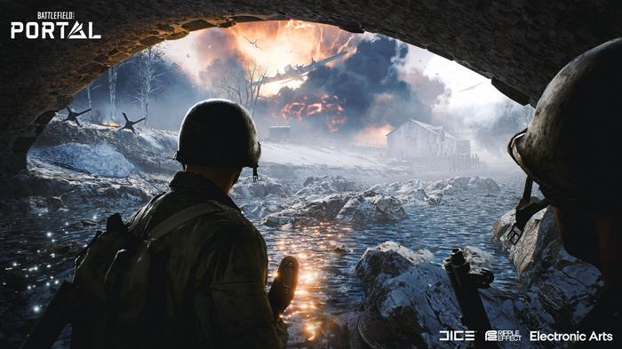 Soldiers witness an aircraft crash as they prepare for war.