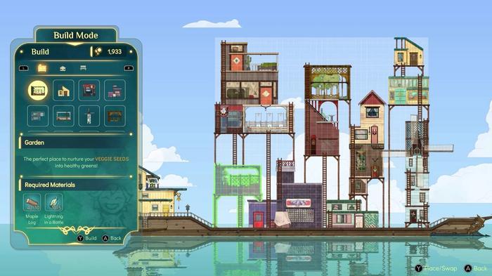 Screenshot from Spiritfarer showing the game's Build Mode.