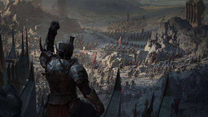 Screenshot from The Lord of the Rings: Rise to War, with an army chief rallying their troops