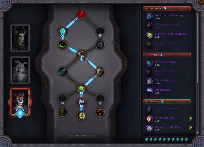 The soulbind page is where you can select what conduits you can use