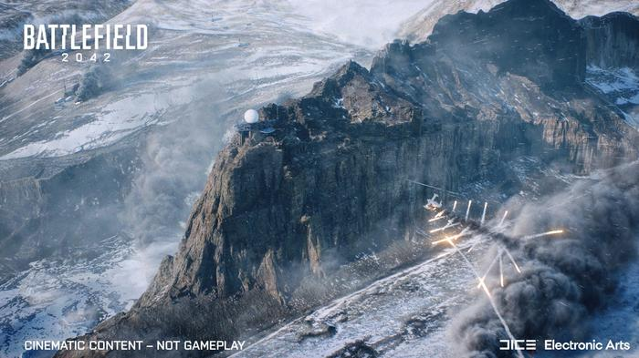 An aircraft unleashes missiles on a snowy mountain.