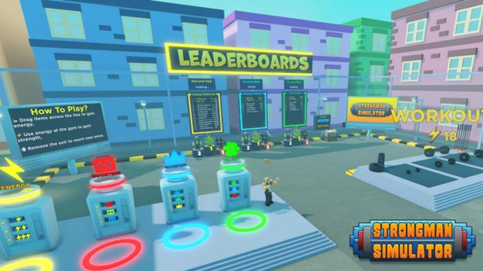 An overview of Strongman Simulator's central square filled with podiums, leaderboards, and workout areas