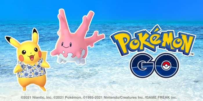 Pikachu wearing a flowery shirt and Corsola dance happily over the crystal clear ocean.