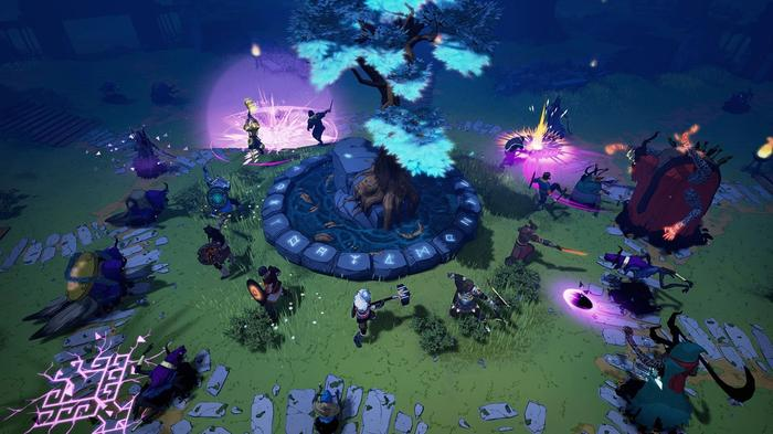 Tribes of Midgard screenshot showing a battle between multiple characters around the World Tree.