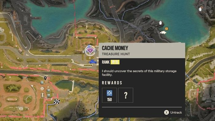 Far Cry 6 Treasure Hunt 'Cache Money' shown on the map of Yara, this Treasure Hunt contains two easter eggs.