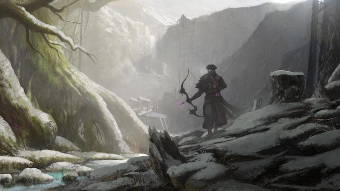 Archer walking through a lush forest.