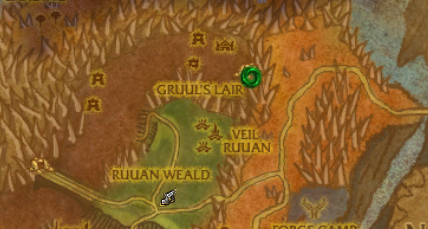 Gruul's Lair entrance located at the green circle.
