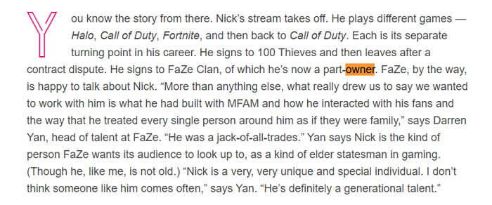 Just text, a highlighted piece is separated showing that Nickmercs is a part-owner.
