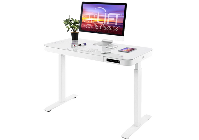best standing desk, product image of a white standing desk