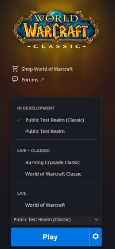 A screenshot of the Public Test Realm in the Battle.net Launcher showing what it looks like once an account is flagged for access.