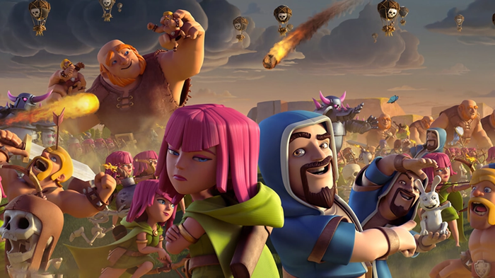 A lineup of characters from Clash of Clans going into battle