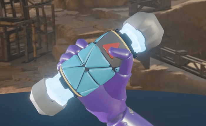 A screenshot of the Cryo Grenade in-game, limited shading and flat coloured.