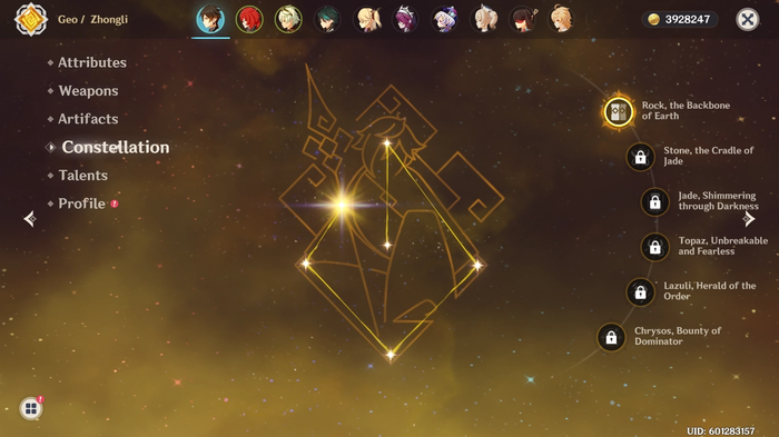 Zhongli's Constellation screen.