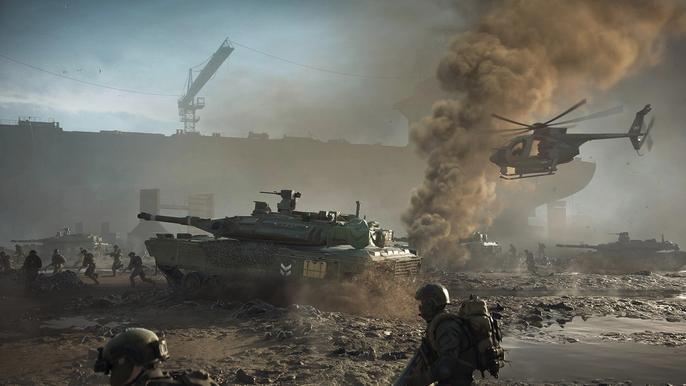 Battlefield 2042 soldiers fight while a tank and helicopter attack overhead.