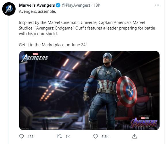 Tweet from Marvel's Avengers