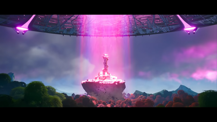 The UFO destroys the Spire POI in Fortnite Season 7