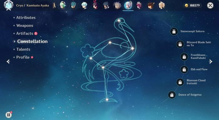 Genshin Impact Ayaka Constellations