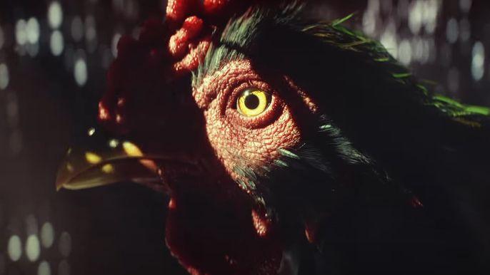 Far Cry 6 Amigo Chicharron, a rooster, in a crate during the Ubisoft Chicharron run trailer.