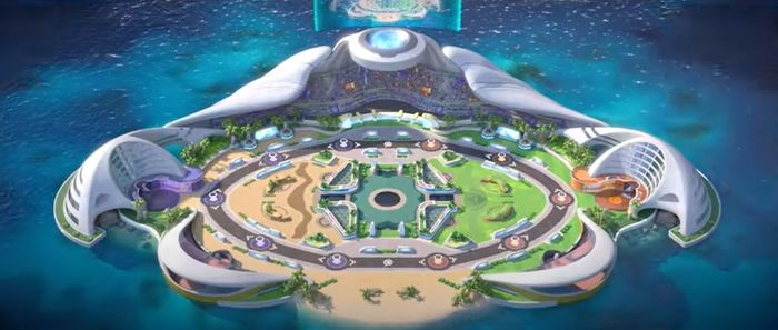 An overhead shot of the map used in Pokemon Unite.