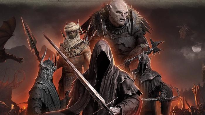 Screenshot of orcs, Sauron, and other villains in The Lord of the Rings: Rise to War