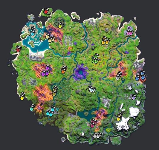 Locations of all the color bottles in Fortnite Season 8.