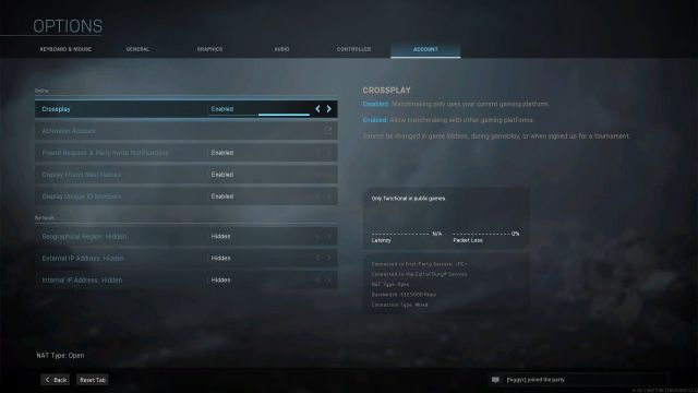 Warzone Crossplay Option Menu