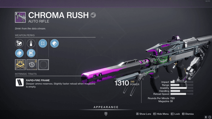 Image of the Destiny 2 weapon, Chroma Rush, with its perks on display.
